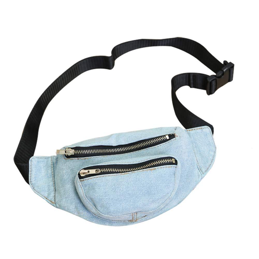 Wakerda Bolsa de Cintura de Mezclilla Bolsillos Ligeros para Viajar Ciclismo de Seguridad Bolsa de Cintura Material Transpirable