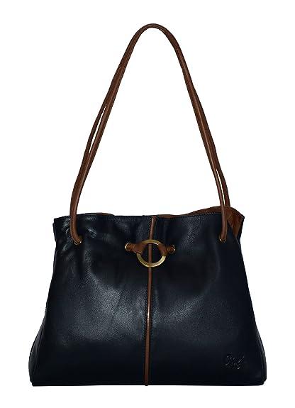 d3ebd45575e2 Navy Ladies Gigi Ring Detail Leather Shoulder Bag  Amazon.co.uk  Shoes    Bags