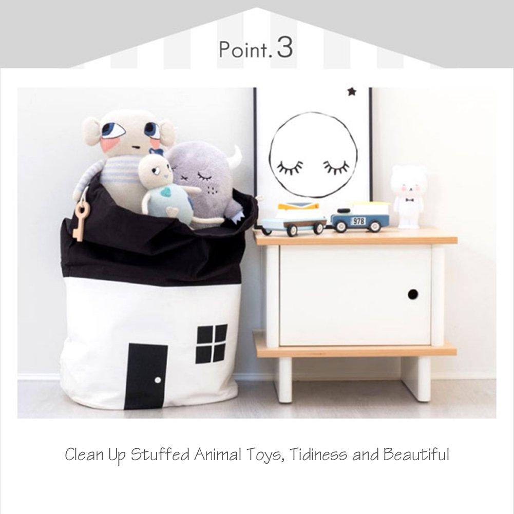 AuReve Cotton Canvas House Storage Bags Quick Pouch Organizer Drawstring Bag Tidy the Room Children's Toys Home Stuff One-shoulder Travelling Bags Black by AuReve (Image #3)