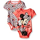 Disney Baby Minnie Mouse Adorable Soft 2 Pack Bodysuits, Pink, 0-3 Months