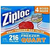Ziploc Double Zipper Quart Freezer Bags, 216 Count by Ziploc