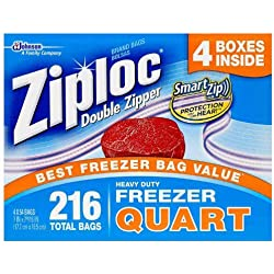 Ziploc Double Zipper Quart Freezer Bags, 216 Count by Ziploc