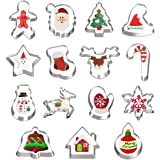 Hibery 15 Pcs Christmas Cookie Cutters, Holiday Cookie Cutters Including Snowflake, Snowman, Gingerbread, Christmas Tree…
