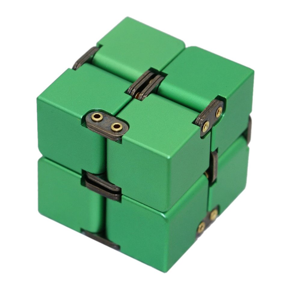 AWICOM Infinity Cube Metal Aluminum Alloy Pressure Reduction Educational Toys For Kids And Adults (Cube-Green)