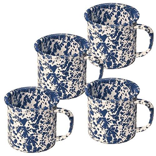 (Enamelware Mug, 12 ounce, Navy/Cream Splatter)