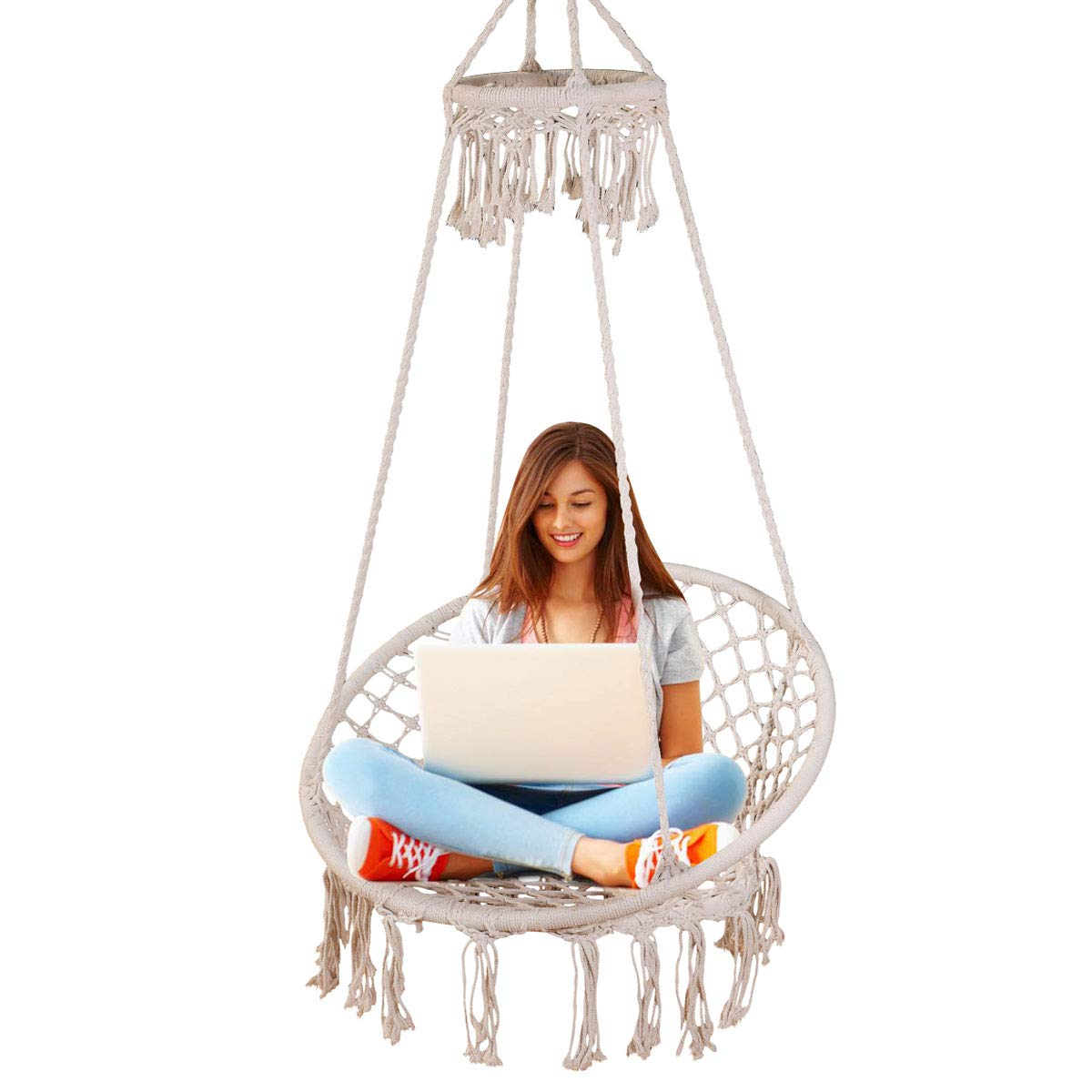 Sonyabecca Hanging Chair Macrame Hammock Swing Chair Large Size wih Top CircleTassels 265 Pound Capacity Handmade Knitted Hangingfor Indoor/Outdoor Home Patio Deck Yard Garden Reading Leisure Lounging