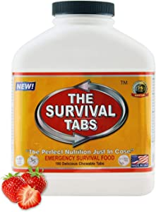Survival Tabs 15 Day 180 Tabs Emergency Food Survival Food Meal Replacement MREs Gluten Free and Non-GMO 25 Years Shelf Life Long Term Food Storage - Strawberry Flavor