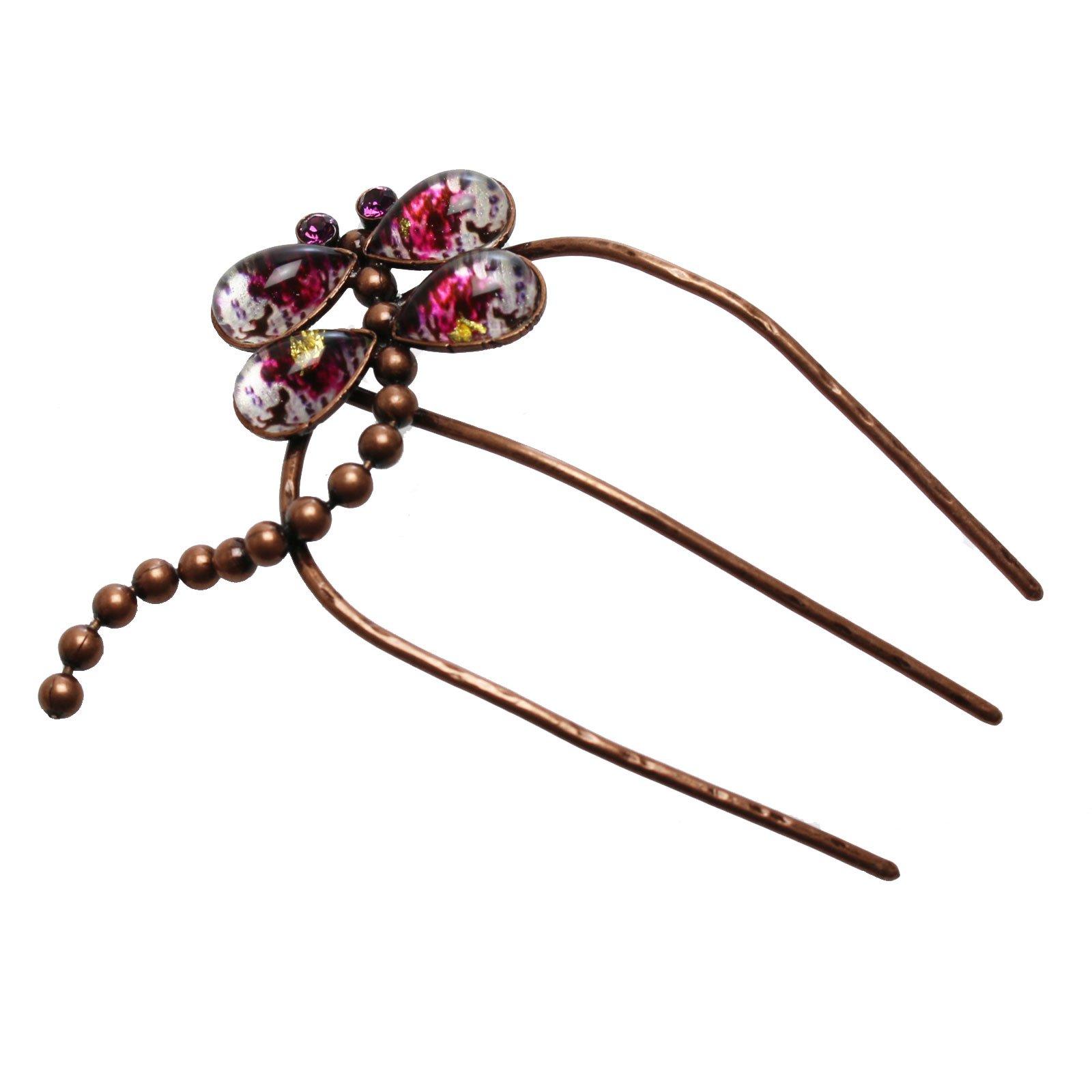 Tamarusan Hair Comb Dinosaur Dragonfly Hair Ornament Handmade Purple