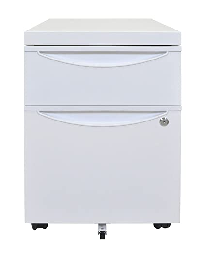2 Drawer Mobile Pedestal File Cabinet Finish: White