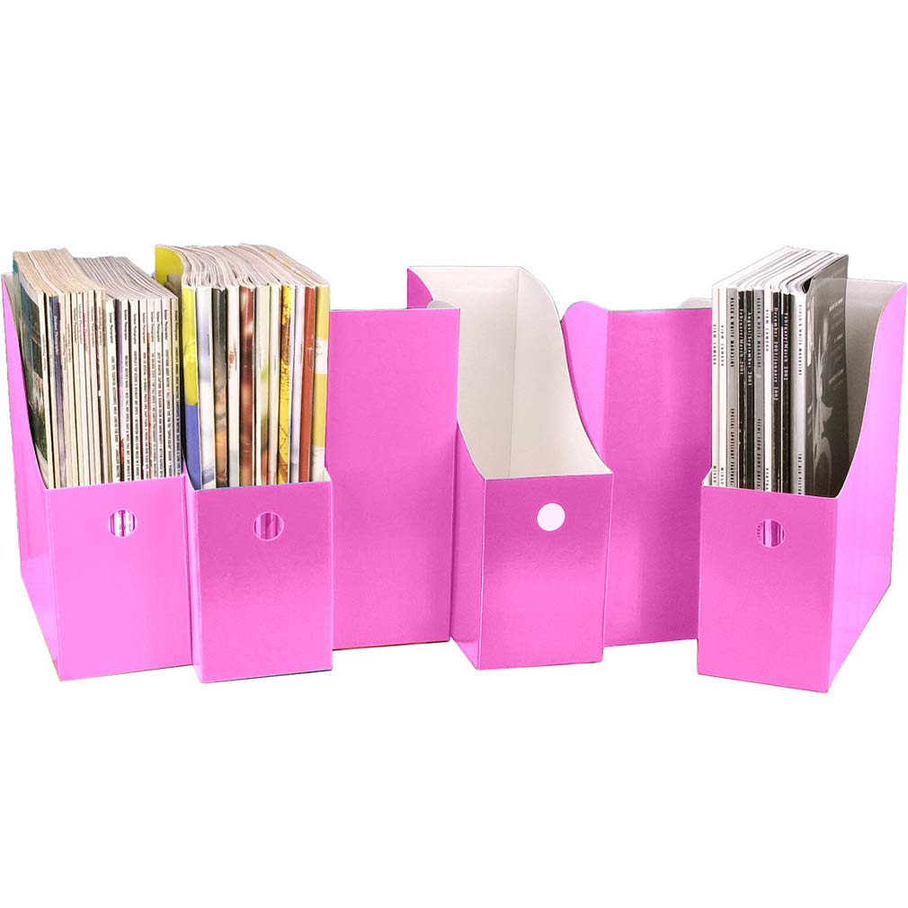 Evelots Set of 6 Magazine File Holders Desk Organizer, File Storage with Labels, Pink by Evelots (Image #5)