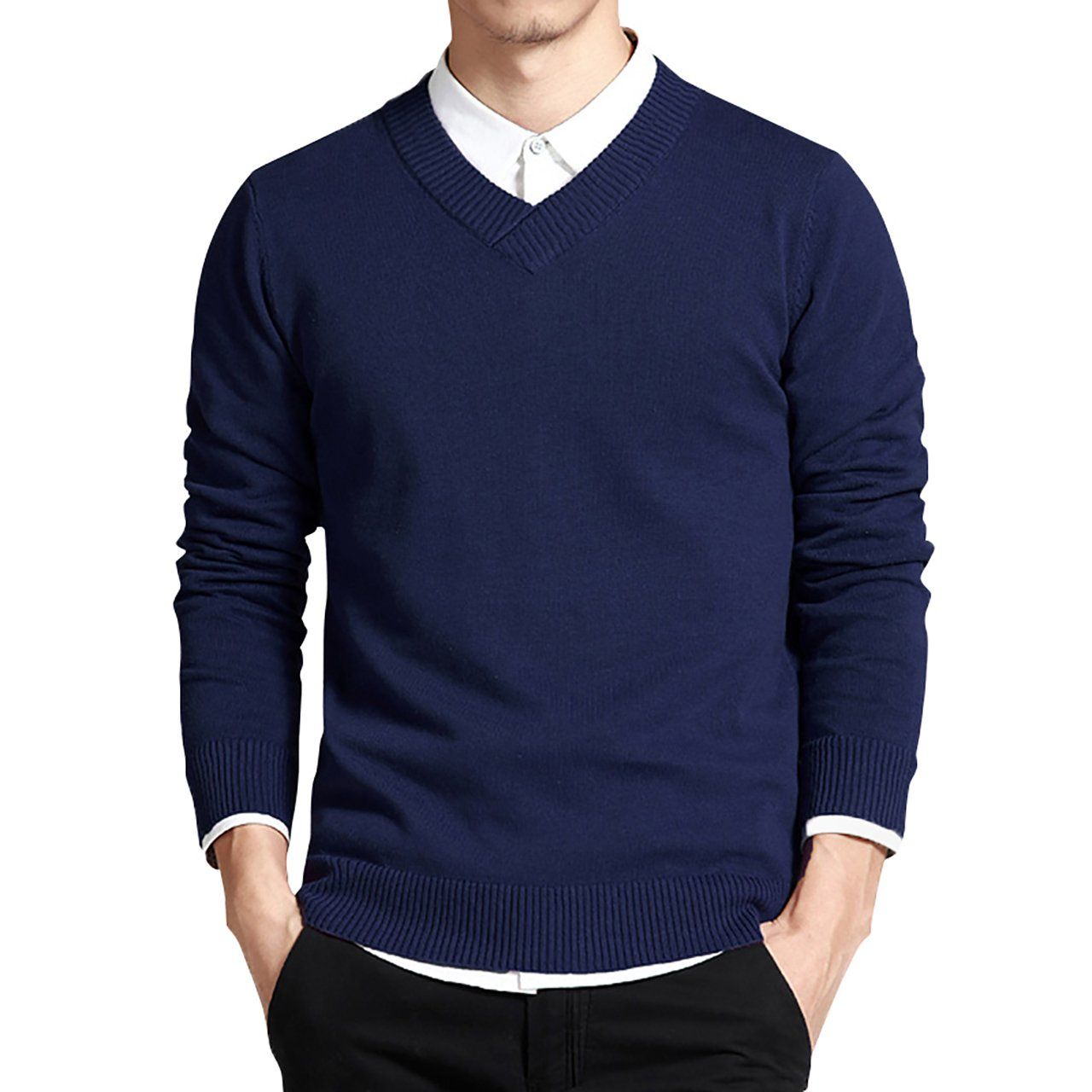 LTIFONE Mens Slim Comfortably Knitted Long Sleeve V-Neck Sweaters (Blue,S)