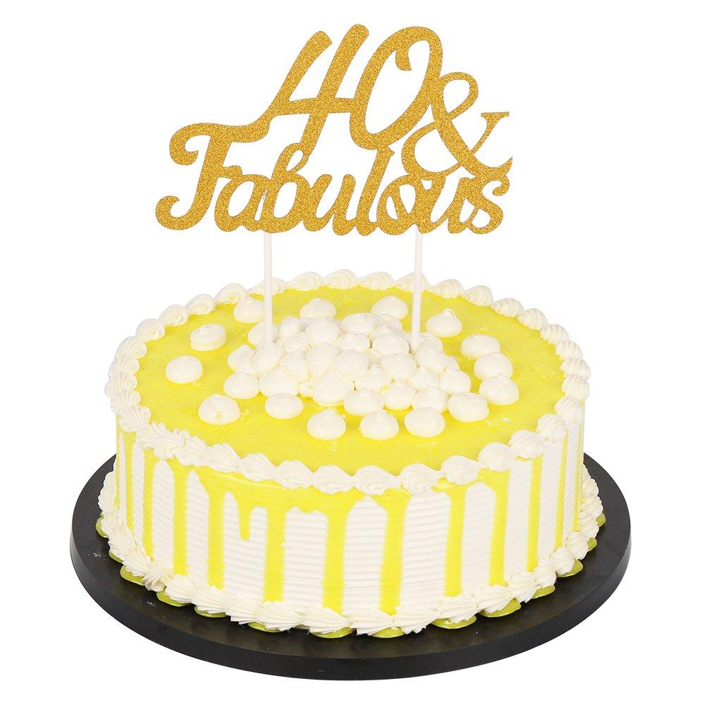 Party Cupcake Topper Decoration Birthday Wedding PALASASA Gold Glitter 40 /& Fabulous Cake Topper Anniversary