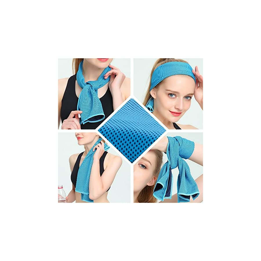 """Chez BoBos Cooling Towel Evaporative Microfiber Towel Instant Relief Quick Try Ice Towel Perfect for Yoga Golf Pilates Camping Fitness Running Gym 40""""x12"""""""
