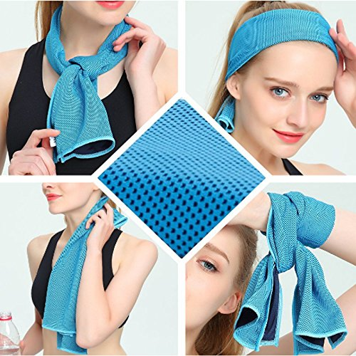 """Cooling Towel Evaporative Microfiber Towel Instant Relief Quick Try Ice Towel Perfect for Yoga Golf Pilates Camping Fitness Running Gym 40""""x12"""""""