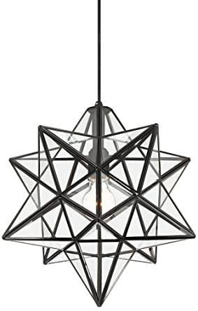 Cuthbert 15w black and clear glass star pendant light amazon cuthbert 15quotw black and clear glass star pendant light aloadofball Image collections