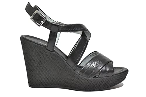 NERO GIARDINI Sandali zeppa nero 7630 scarpe donna mod. P717630D