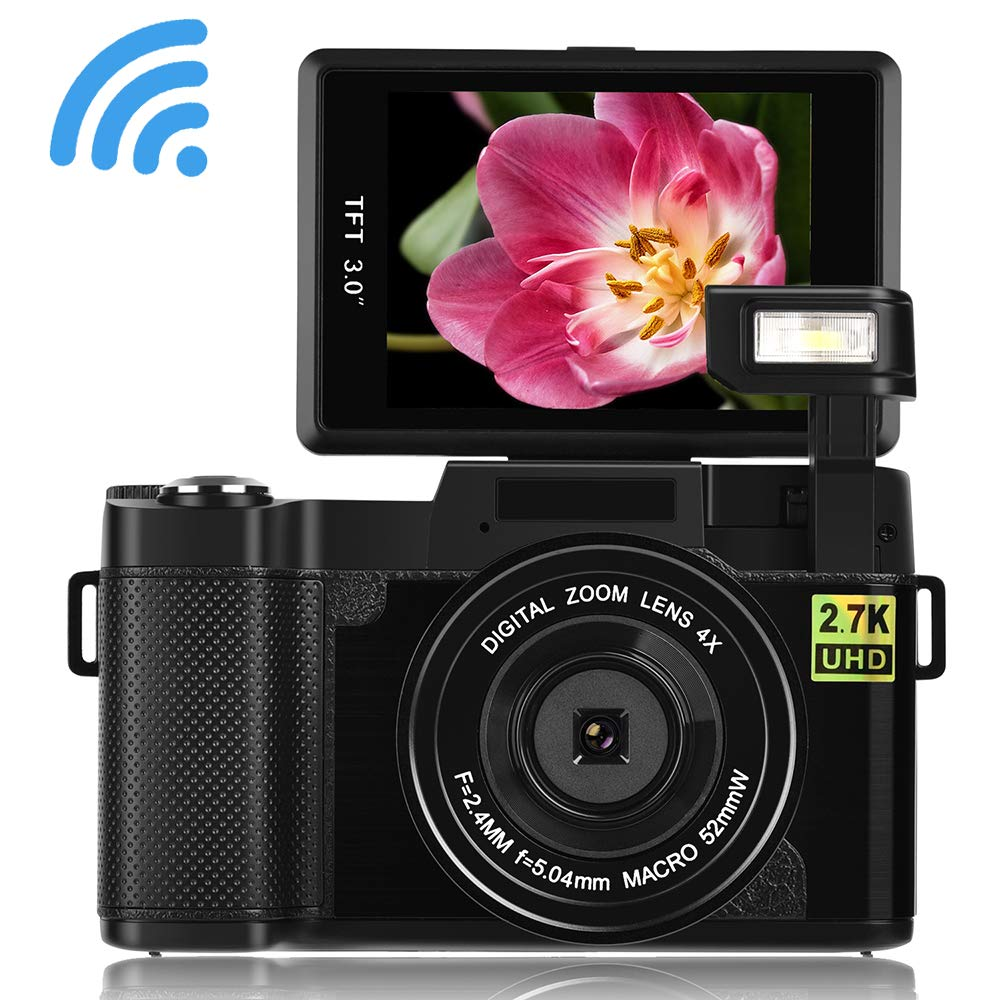 Seree Digital Camera Camcorder WiFi Vlogging Camera 2.7K Ultra HD 24MP Video Camcorders Vlogging Camera Retractable Flash Light UV Lens