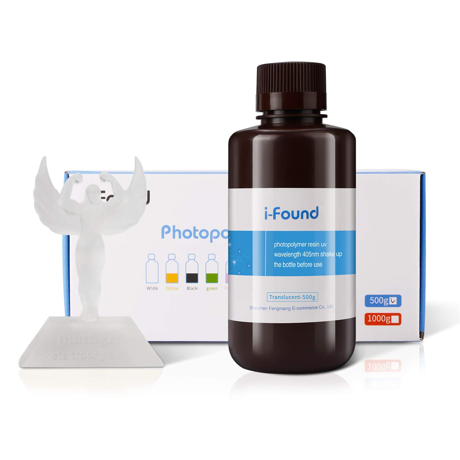 i-Found 3D Printer Resin LCD UV-Curing Resin Compatible with Any LCD 3D Printing,405 nm Standard photopolymer Resin,500Gram Transparent