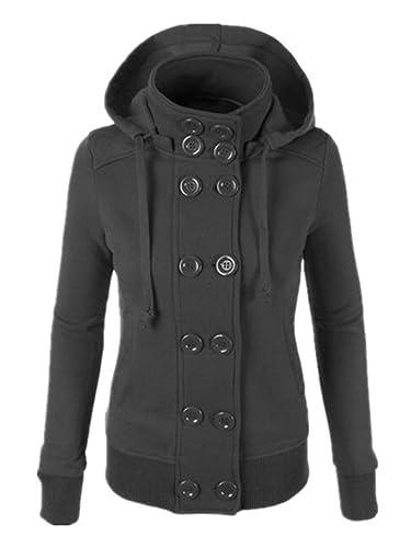 Tayaho Abrigos Manga Larga Mujer Coat Cuello Alto Con Capucha Jacket De Botones Con Bolsillos Chaque...