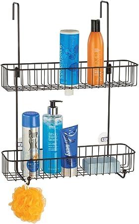 mDesign Estantería para baño en metal anticorrosivo – Estanterías metálicas con 2 cestas de ducha para colgar en la mampara – Organizador de baño con 2 estantes – Se cuelga sin tornillos – bronce: Amazon.es: Hogar
