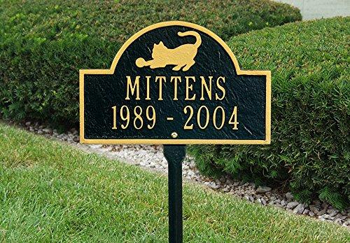 Arch Lawn Marker - Pet Cat Mini Two Line Lawn Custom Arch Marker in Black / Gold