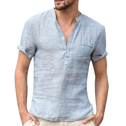 e0a8f7d13 Image Unavailable. Image not available for. Color: TRENTON Men T-Shirts,  Solid Color Button V Neck Patch Pocket Linen Short Sleeve