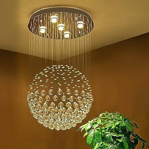 SEFINN FOUR Shape K9 Raindrop Ceiling Light Modern Crystal Chandelier, H32 X D18, Single Ball