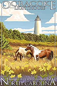 Ocracoke Lighthouse - Outer Banks, North Carolina (9x12 Art Print, Wall Decor Travel Poster)
