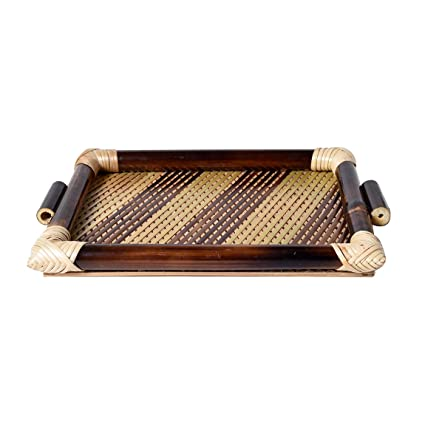 1f187dbc9daf Buy Kraftmania Wooden Tray Crafted Serving Tray Dinner Food Cart Handmade  and Handcrafted Tray Online at Low Prices in India - Amazon.in