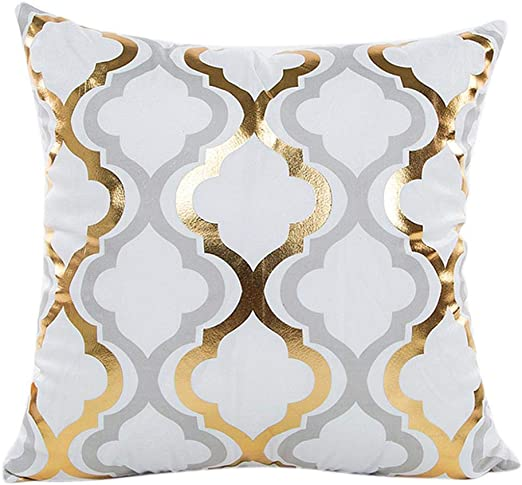 Decorative Square Throw Cushion Cover Yellow Sofa Car Pillow Case 18 Inches 1PC