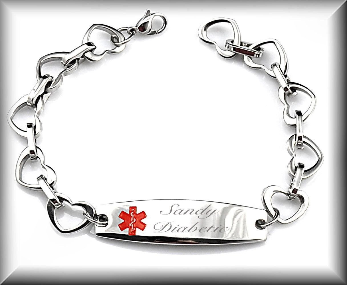 Personalized Engraved Stainless Steel Medical Alert Heart Link Id Bracelet Customized Free Engraving