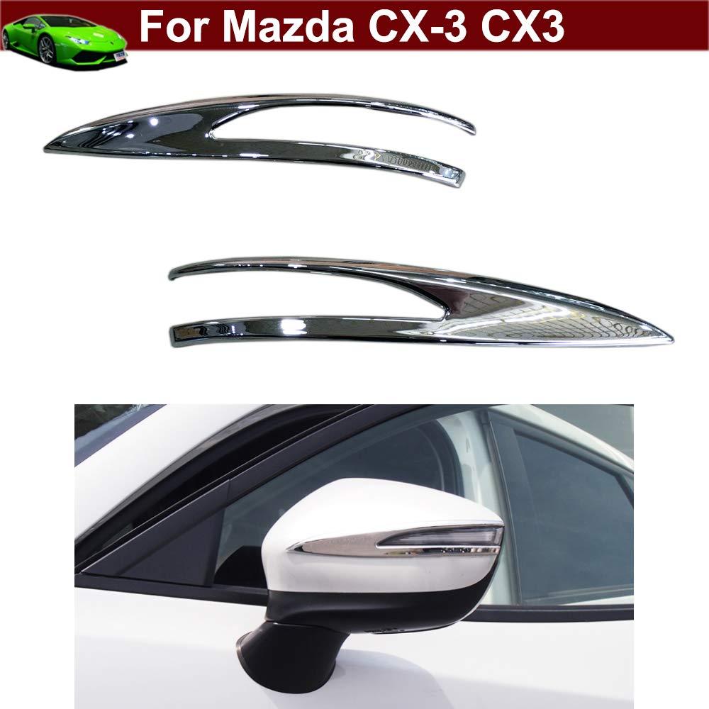 Kaitian New 2pcs Chrome Rearview Side Mirror Molding Cover Trim Strip Emblems up for Mazda CX3 CX-3 2016 2017 2018 2019 KaiTian Auto Part Co. Ltd