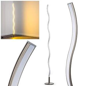 Lampadaire LED Dillon - Luminaire nickel mat au design ondulé - Eclairage de teinte Blanc chaud - Lampe avec interrupteur à pied