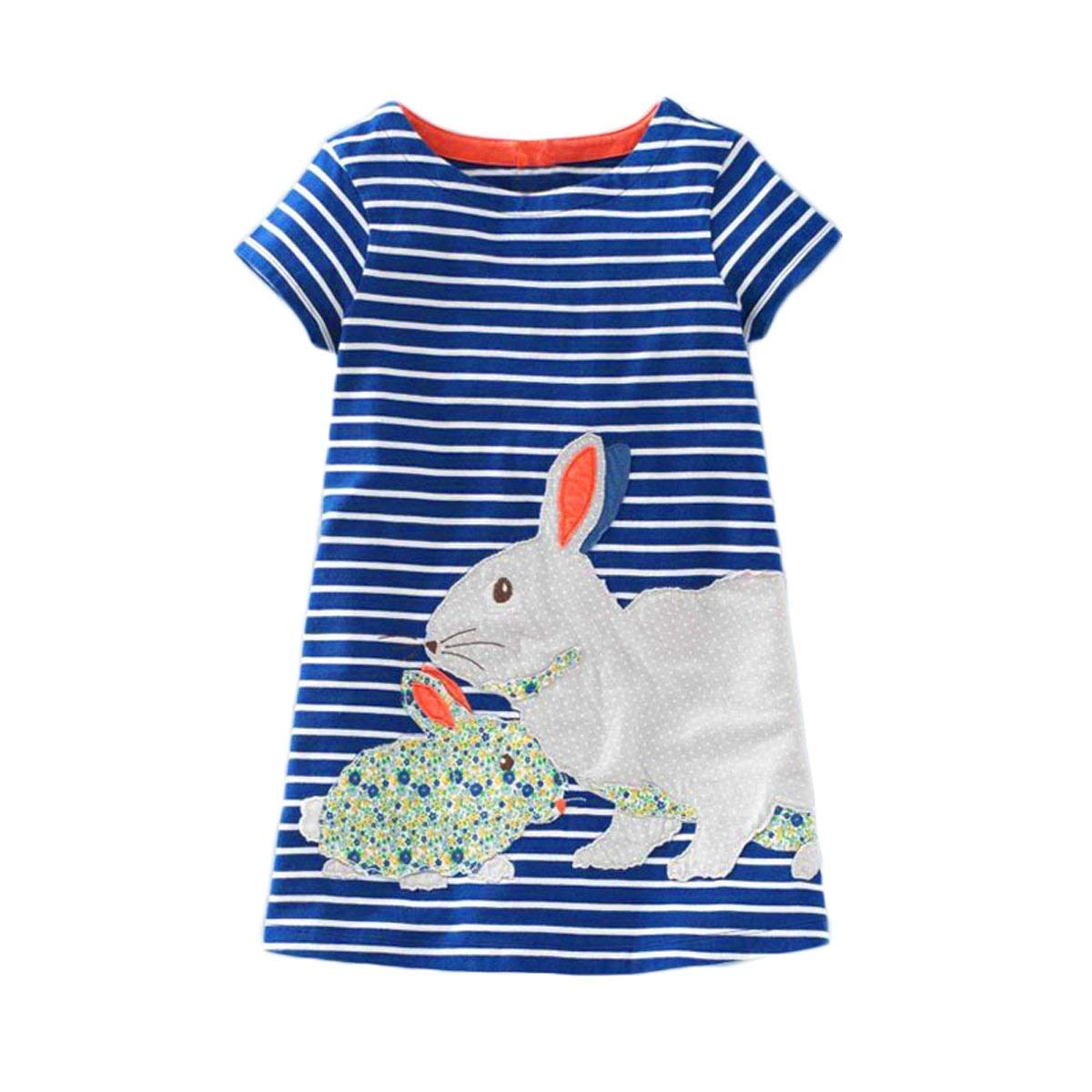 douleway Toddler Kids Rabbit Bunny Striped Princess Baby Girl Dress Outfits Dresses