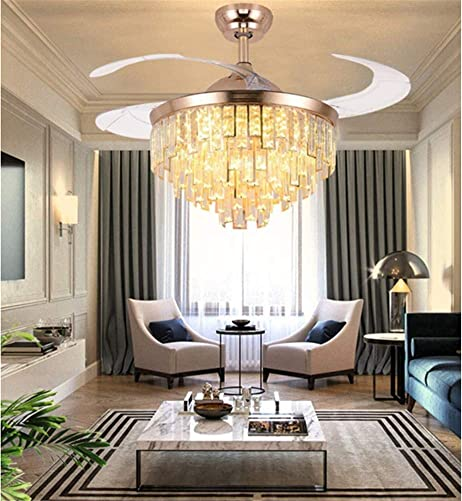 42 Luxury Crystal Retractable Ceiling Fan with LED Lights and Remote,3 Color 3 Speed Chandelier Ceiling Fan for Living room Bedroom