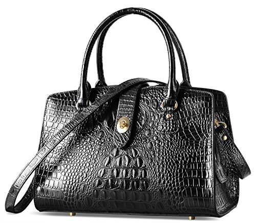 (PIFUREN Women Top Handle Handbags Satchel Crocodile Shoulder Bag Tote Purse (C69655L Black))