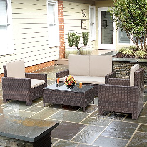 Homall-4-PC-Wicker-Outdoor-Patio-Furniture-Set-Rattan-SofaOutdoorIndoor-Use-for-Backyard-Porch-Garden-Poolside-Balcony-with-Beige-Cushion
