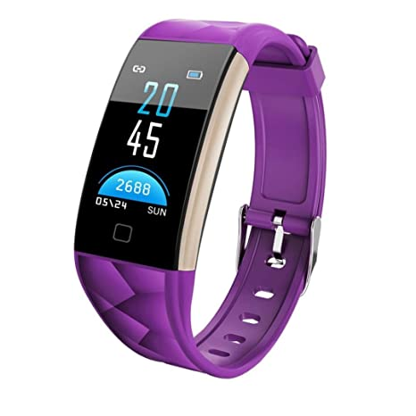 2018 New Bluetooth Smart Watch Color Screen IP67 Waterproof Activity Heart Rate Monitor for Android IOS Smartphones (Purple)