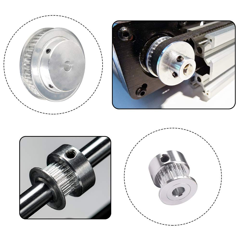 for 3D Printer. Houkr GT2 Aluminum Timing Belt Idler Pulley Bearing 20/&60 Teeth Width 8mm Born Synchronous Wheel with a Perimeter 200mm Width 6mm Belt and a M4 Allen Wrench