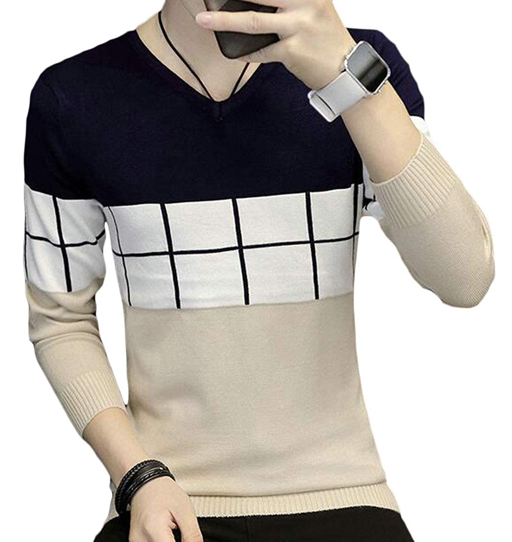 Cromoncent Men Slim Crewneck Knitwear Long Sleeve Graphic Pullover Sweaters