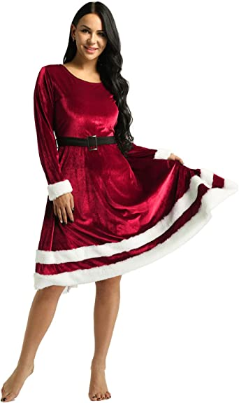 dPois Vestido de Fiesta Navidad Mujer Midi Manga Larga Disfraz ...