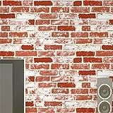 Retro 3D PVC Brick Effect Wallpaper Antique Thicker Red Brick Wallpaper Waterproof