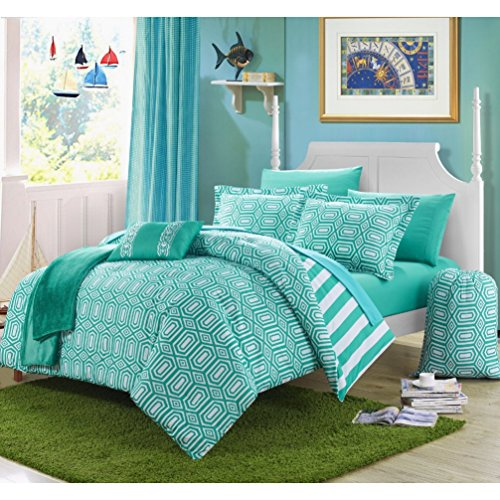 10 Piece Coastal Mirror Glass Design Comforter Set Full Size, Featuring Geometric Moroccan Trellis Diamonds Bedding, Modern Reversible Stripes Pattern, Bright Vertical Lines Themed, Turquoise, White by SE