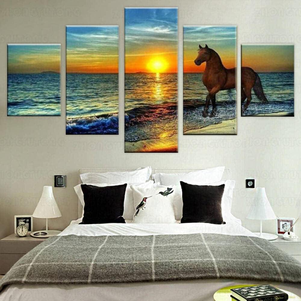 5 Piezas Cuadro sobre Lienzo De Fotos Puesta de sol paisaje puesta sol paisaje caballo Lienzo Impresión Cuadros Decoracion Salon Grandes Cuadros para Dormitorios Modernos Mural Pared Listo para Colgar