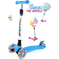 OUTON Scooter for Kids 3 Wheel Kick Scooter for Toddler Girls Boys, Lean to Steer, 4 Adjustable Height, Light Up Wheels for Children Age 3-14