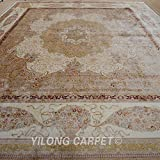 Yilong 14.2 x14.2  Oversize Hand Knotted Silk Rug Square Vintage Persian Floral Medallion with Strewed Flowers...