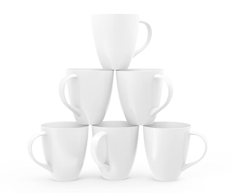 Francois et Mimi Large Ceramic Coffee Mugs, 16oz, White, Set of 6