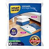 Smart Saver Space Saver Vacuum Storage Compression Reusable Ziplock Bags- 40x60- Pack of 3