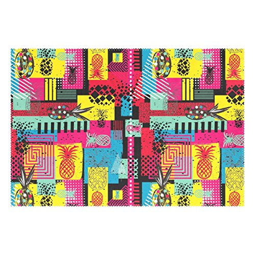 ALAZA Polyester Table Mat Exotic Graffiti Colorful Summer Pineapple Placemat 12