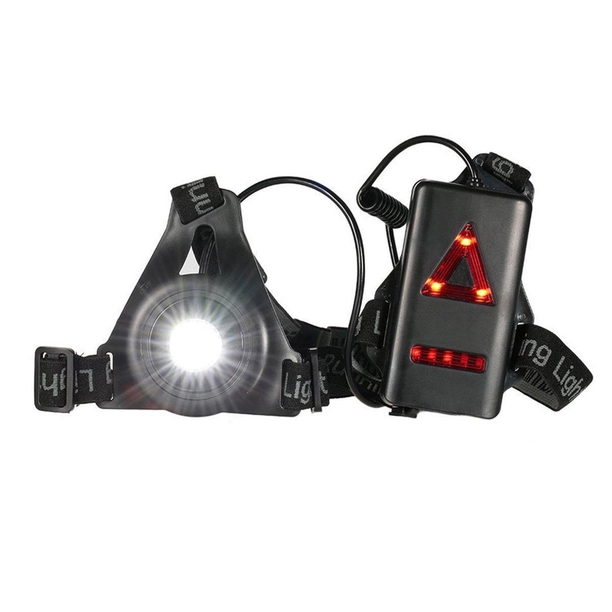 Kodoo Running noche luces LED, USB Batería integrada recargable de 3modos de iluminación en el pecho a la luz 250lm -1260Ma–Iluminar hasta 20m para corredores, de deporte, deportes al aire libre, senderismo, pesca, camping,